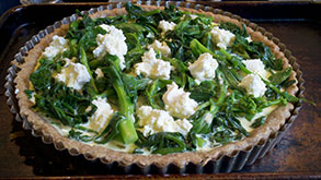 Brunch Tart with Broccoli Rabe and Spinach with Fresh Ricotta and Goat's Milk Cheese
