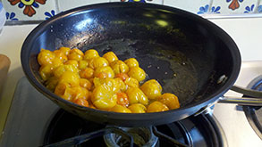 Sautéed Sungold Tomatoes- great with fresh pasta